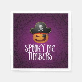 Jack O' Lantern Pirate Halloween Paper Napkin. Paper Napkins