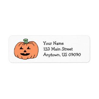 Jack-O-Lantern Pumpkin Address Labels (Black)