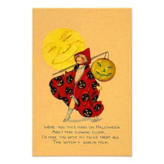 Jack O Lantern Pumpkin Man In The Moon Girl Photo Art
