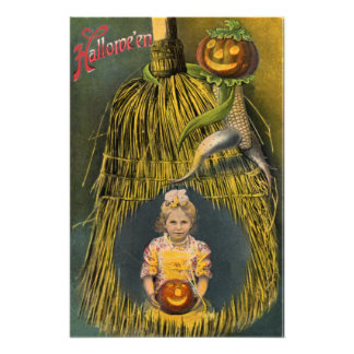 Jack O Lantern Pumpkin Scarecrow Broom Photo Print