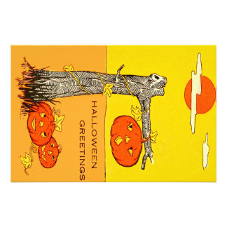 Jack O' Lantern Pumpkin Tree Leaves Photographic Print