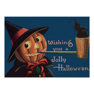 Jack O' Lantern Pumpkin Witch Pipe Poster