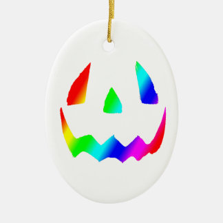 Jack O' Lantern Rainbow Face Double-Sided Oval Ceramic Christmas Ornament