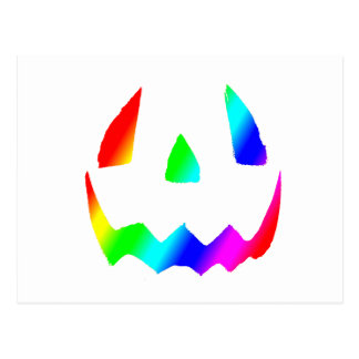 Jack O' Lantern Rainbow Face Postcard