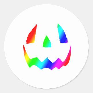 Jack O' Lantern Rainbow Face Classic Round Sticker