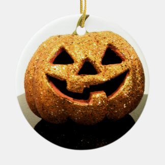 Jack-o'-lantern Round Ceramic Ornament
