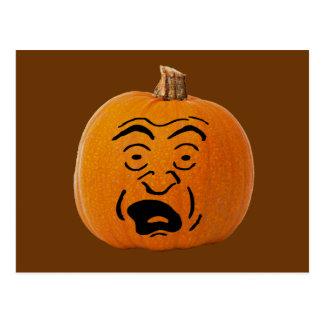 Jack o' Lantern Scared Face, Halloween Pumpkin Postcard