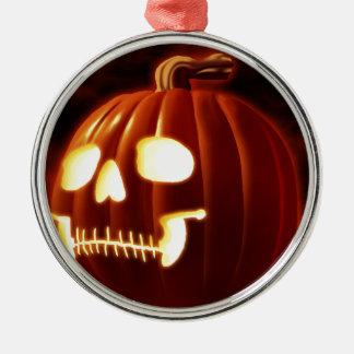 Jack-o-lantern Silver-Colored Round Ornament