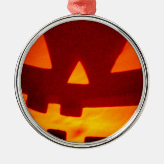 Jack O Lantern Silver-Colored Round Ornament