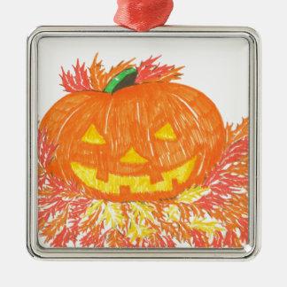 Jack-O-Lantern Silver-Colored Square Ornament