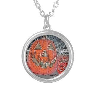 Jack-O Lantern Silver Plated Necklace