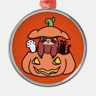 Jack O' Lantern Sloth Metal Ornament