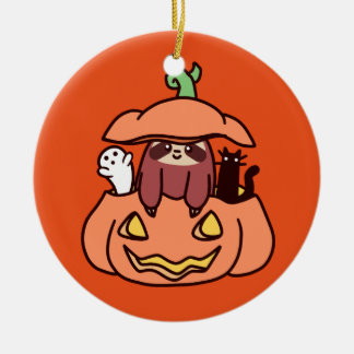 Jack O' Lantern Sloth Round Ceramic Ornament