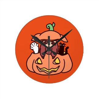Jack O' Lantern Sloth Round Clock