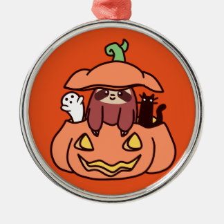 Jack O' Lantern Sloth Silver-Colored Round Ornament