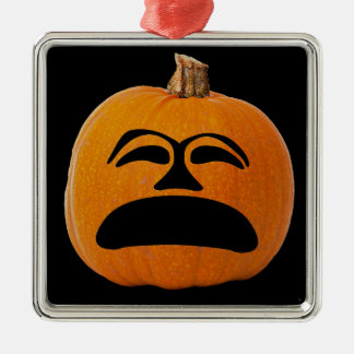 Jack o' Lantern Unhappy Face, Halloween Pumpkin Metal Ornament