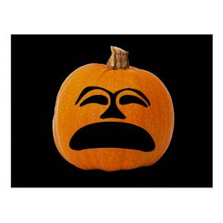 Jack o' Lantern Unhappy Face, Halloween Pumpkin Postcard