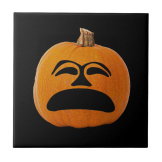 Jack o' Lantern Unhappy Face, Halloween Pumpkin Tile