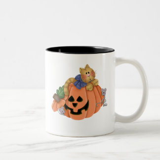 Jack O Lantern with Cat and Mice Two-Tone Coffee Mug