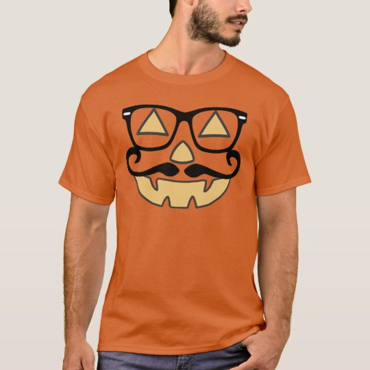 Jack-O-Lantern With Moustache & Glasses T-shirt