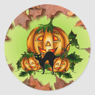 JACK-O-LANTERNS by SHARON SHARPE Round Sticker