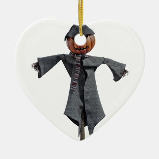 Jack O Scarecrow Ceramic Heart Ornament