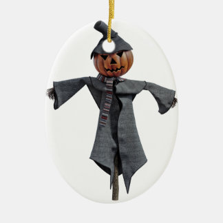 Jack O Scarecrow Ceramic Oval Ornament