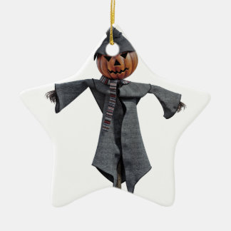 Jack O Scarecrow Ceramic Star Ornament