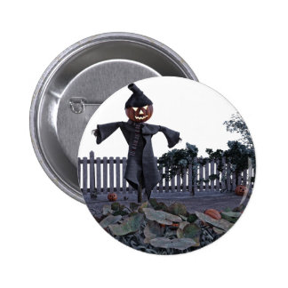 Jack O Scarecrow in a Pumpkin Patch 2 Inch Round Button