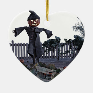Jack O Scarecrow in a Pumpkin Patch Ceramic Heart Ornament