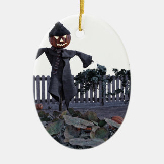 Jack O Scarecrow in a Pumpkin Patch Ceramic Oval Ornament