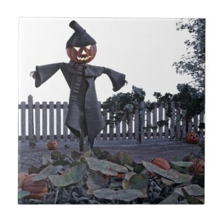 Jack O Scarecrow in a Pumpkin Patch Ceramic Tiles