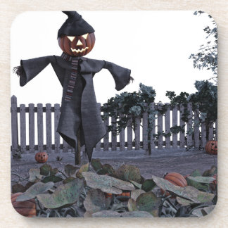 Jack O Scarecrow in a Pumpkin Patch Coasters