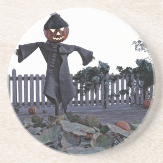 Jack O Scarecrow in a Pumpkin Patch Drink Coaster