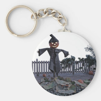 Jack O Scarecrow in a Pumpkin Patch Keychain