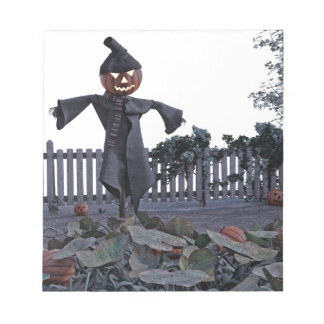 Jack O Scarecrow in a Pumpkin Patch Notepad