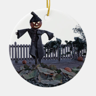 Jack O Scarecrow in a Pumpkin Patch Round Ceramic Ornament
