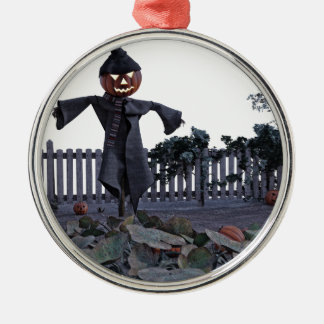 Jack O Scarecrow in a Pumpkin Patch Silver-Colored Round Ornament