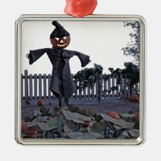 Jack O Scarecrow in a Pumpkin Patch Silver-Colored Square Ornament