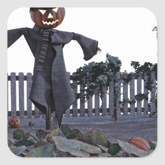 Jack O Scarecrow in a Pumpkin Patch Square Sticker