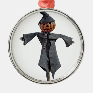 Jack O Scarecrow Silver-Colored Round Ornament