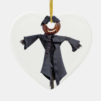 Jack O Scarecrow with Bright Eyes Ceramic Heart Ornament