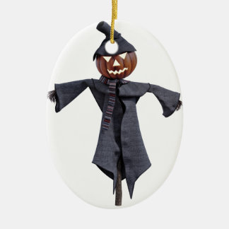 Jack O Scarecrow with Bright Eyes Ceramic Oval Ornament