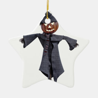 Jack O Scarecrow with Bright Eyes Ceramic Star Ornament