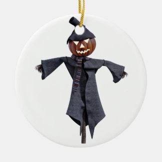 Jack O Scarecrow with Bright Eyes Round Ceramic Ornament
