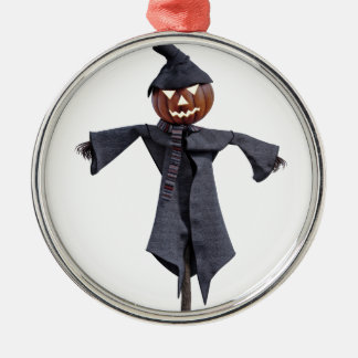 Jack O Scarecrow with Bright Eyes Silver-Colored Round Ornament