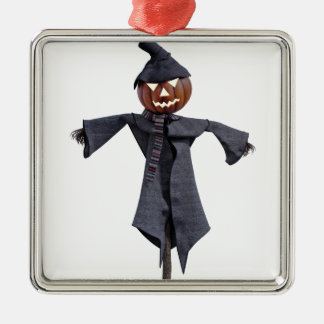 Jack O Scarecrow with Bright Eyes Silver-Colored Square Ornament
