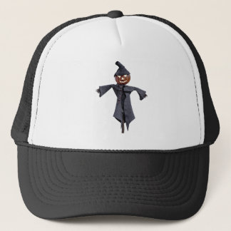 Jack O Scarecrow with Bright Eyes Trucker Hat