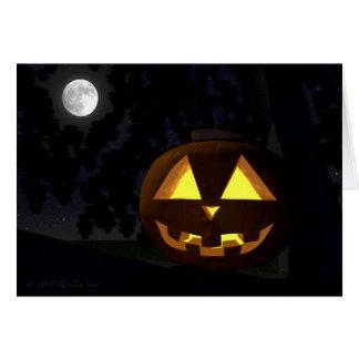 Jack O'Lantern and Moon Halloween Greeting Card