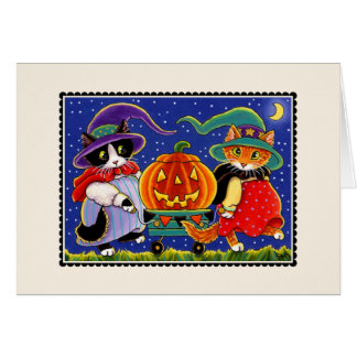 Jack O'Lantern Halloween Cat Card Card